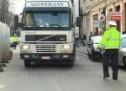 Belgian blocat cu TIR-ul în centrul Sătmarului, chiar în faţa Tribunalului
