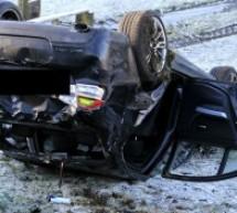 Accident pe DN19. Mașină răsturnată, traficul a fost blocat