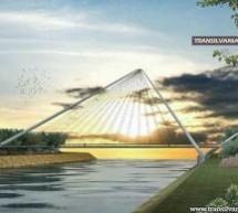 Așa va arăta podul pietonal peste Someș. Se reamenajează malurile și pasarelele.